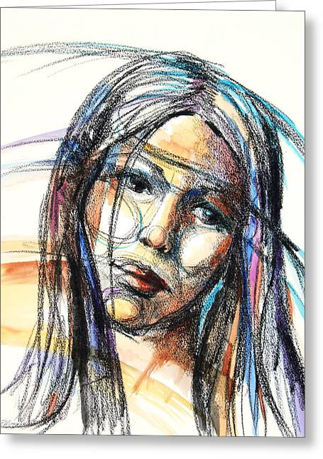 Patricia Mixed Media Greeting Cards - Sad Greeting Card by Patricia Allingham Carlson
