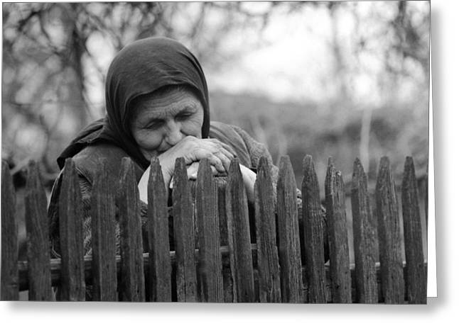 Insecurity Greeting Cards - Sad peasant at the fence Greeting Card by Emanuel Tanjala