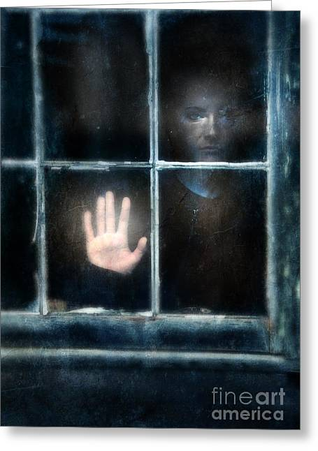 Left Alone Greeting Cards - Sad Person Looking out Window Greeting Card by Jill Battaglia