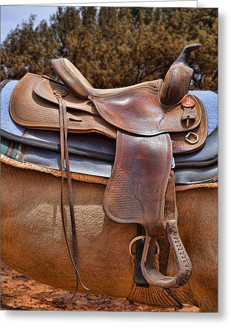 Worn Leather Photographs Greeting Cards - Saddle Up Greeting Card by Kelley King