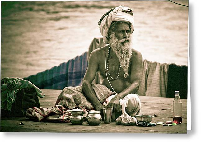 Sadhu At Ganges Greeting Card by John Battaglino