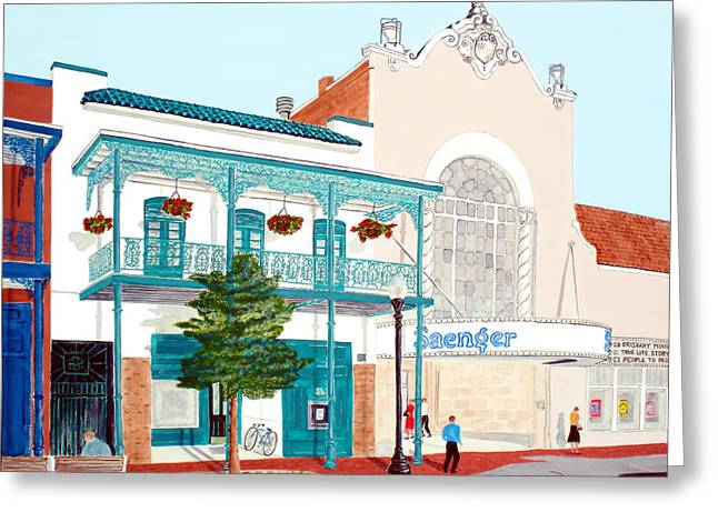 Historical Buildings Greeting Cards - Saengar Theater Pensacola Greeting Card by Richard Roselli