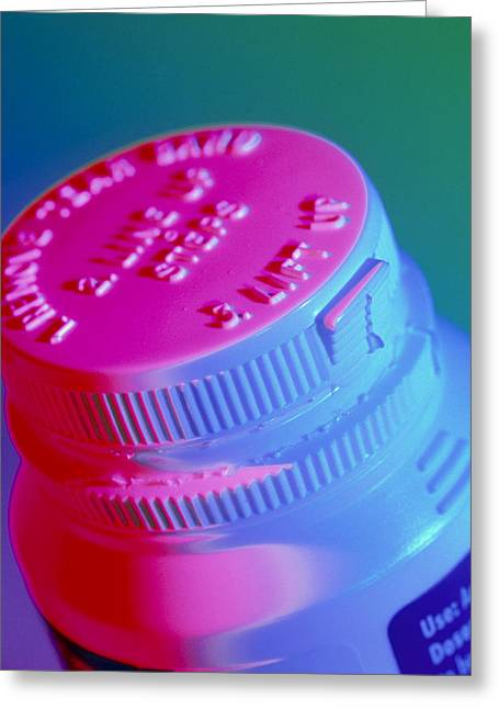 Bottle Cap Greeting Cards - Safety Cap On A Medicine Bottle Greeting Card by Steve Horrell