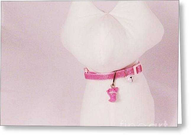 Kitty Jewelry Greeting Cards - Safety Collar with Hand-Sculpted Cat Charm in Dusty Pink Greeting Card by Pet Serrano