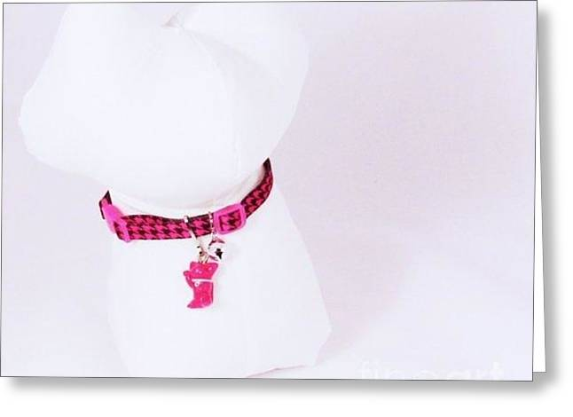 Kitty Jewelry Greeting Cards - Safety Collar with Hand-Sculpted Cat Charm in Hot Pink Greeting Card by Pet Serrano