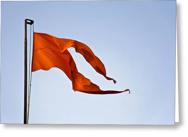 Geometry In Orange Greeting Cards - Saffron in the Breeze Greeting Card by Kantilal Patel