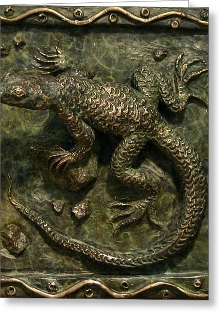 Wildlife Reliefs Greeting Cards - Sagebrush Lizard Greeting Card by Dawn Senior-Trask