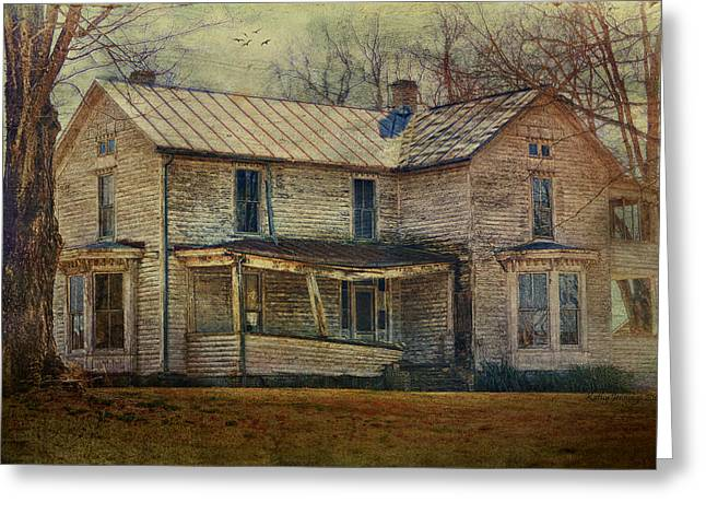Old House Photographs Photographs Greeting Cards - Saggy Porch Greeting Card by Kathy Jennings