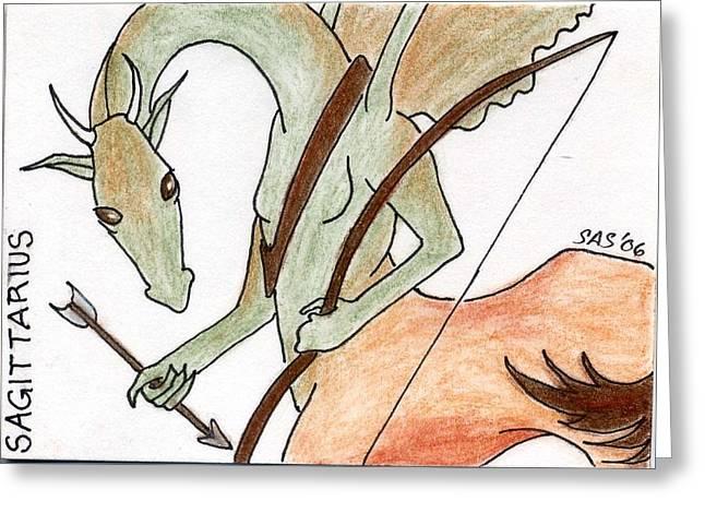 Aceo Original Drawings Greeting Cards - Sagittarius Greeting Card by Sherri Strikwerda