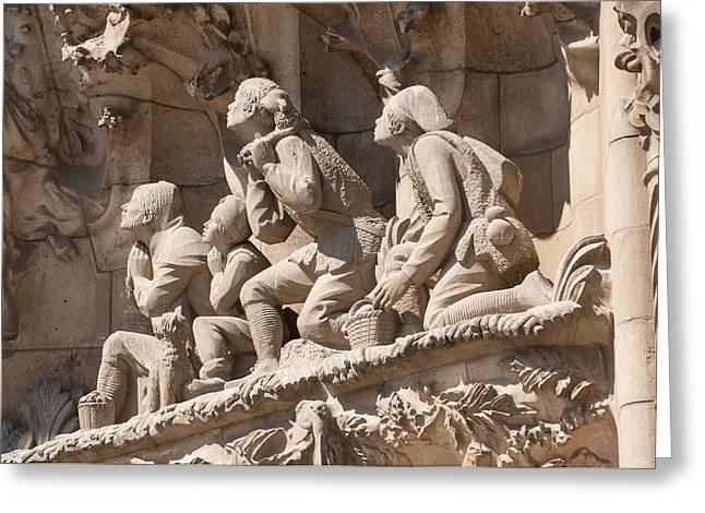 Catalunya Greeting Cards - Sagrada Familia Barcelona Nativity Facade Detail Greeting Card by Matthias Hauser