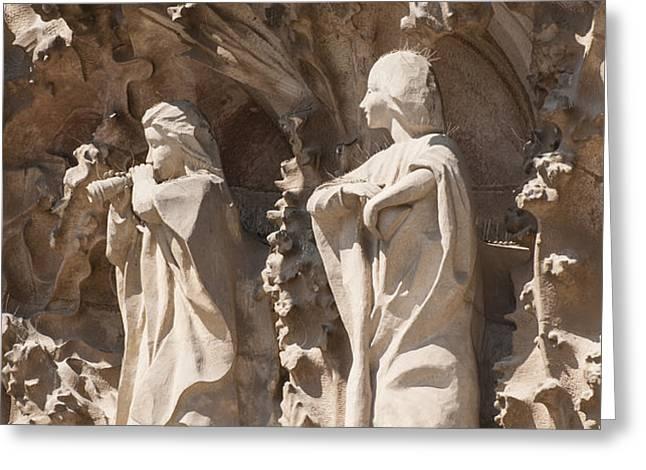 Sagrada Familia Nativity Facade Detail Greeting Card by Matthias Hauser