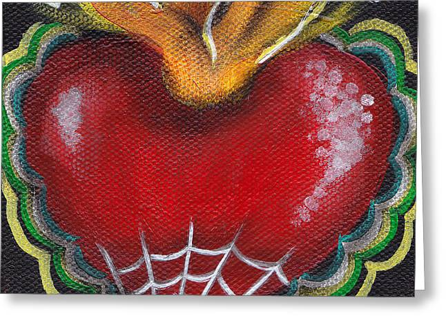 Tattoo Flash Greeting Cards - Sagrado Corazon 2 Greeting Card by  Abril Andrade Griffith
