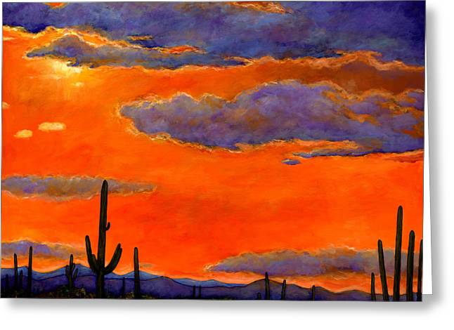 Impressionistic Greeting Cards - Saguaro Sunset Greeting Card by Johnathan Harris