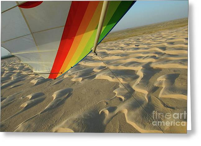 Over Hang Greeting Cards - Sahara Desert seen from hang glider Greeting Card by Sami Sarkis