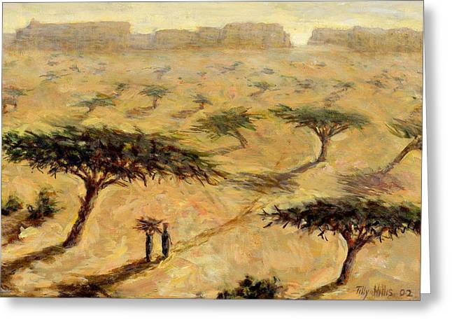 Senegal Greeting Cards - Sahelian Landscape Greeting Card by Tilly Willis