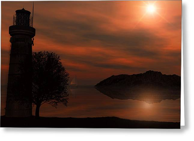 Sun Rays Digital Art Greeting Cards - Sail At Dusk Greeting Card by Lourry Legarde