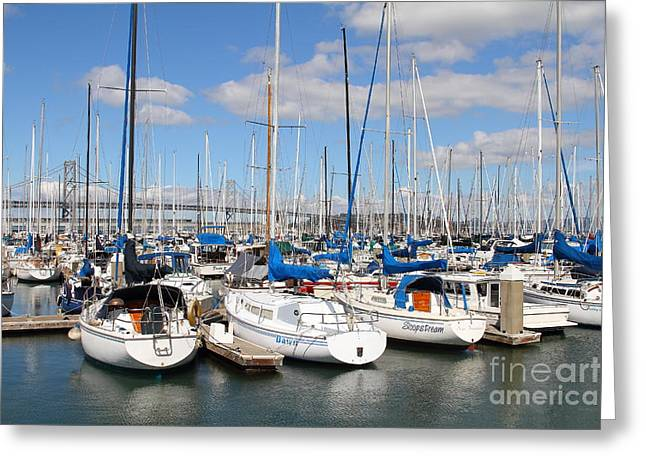 Sail Boats At San Francisco China Basin Pier 42 With The Bay Bridge In The Background . 7d7688 Greeting Card by Wingsdomain Art and Photography