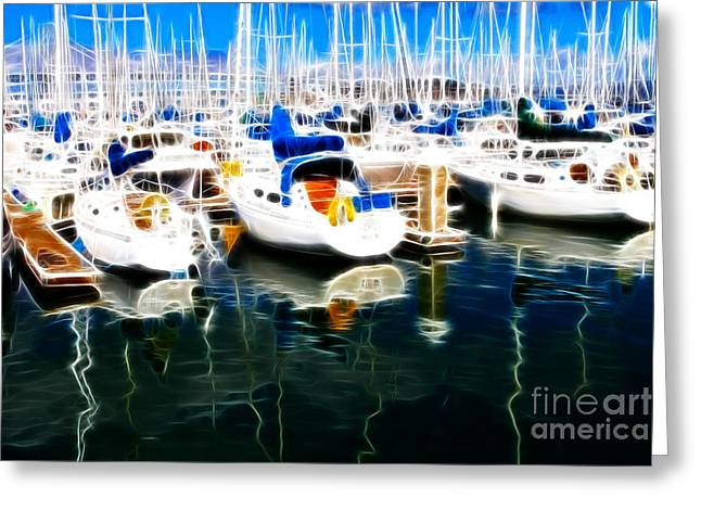 Big Basin Greeting Cards - Sail Boats At San Franciscos Pier 42 . Electrified Greeting Card by Wingsdomain Art and Photography