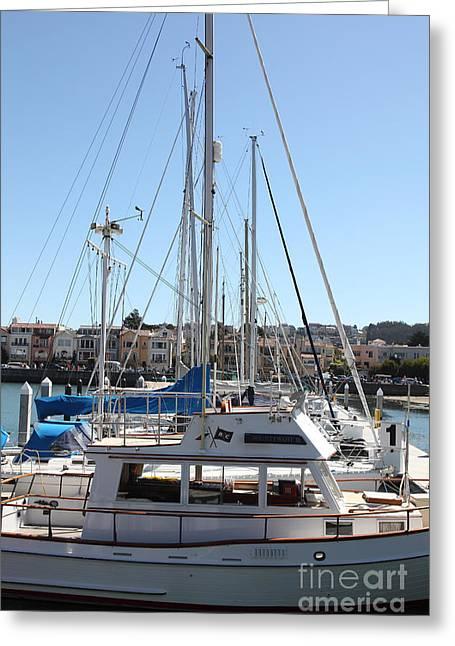 Sail Boats At The San Francisco Marina - 5d18189 Greeting Card by Wingsdomain Art and Photography
