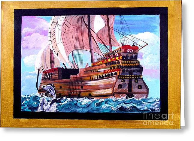 Gallion Greeting Cards - Sail on a Dream Greeting Card by Jayne Kerr