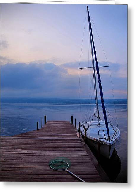 Keuka Greeting Cards - Sailboat And Dock Greeting Card by Steven Ainsworth