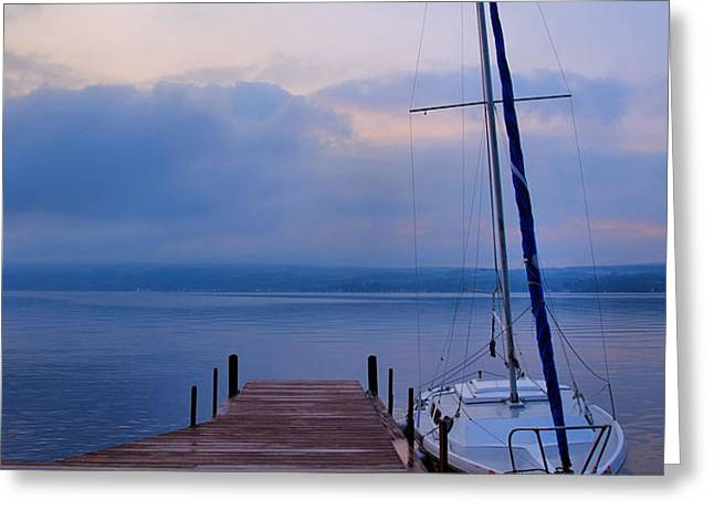 Sailboat And Dock Greeting Card by Steven Ainsworth