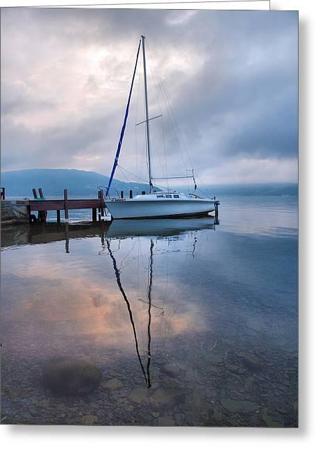 Keuka Greeting Cards - Sailboat And Lake I Greeting Card by Steven Ainsworth