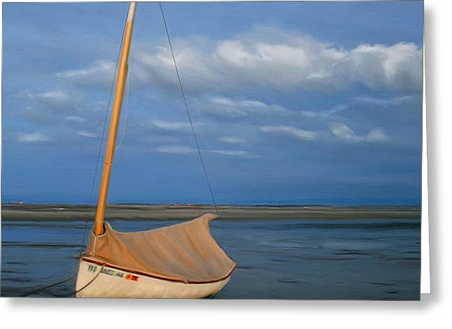 Sailboat at Lowtide Greeting Card by Sue  Brehant