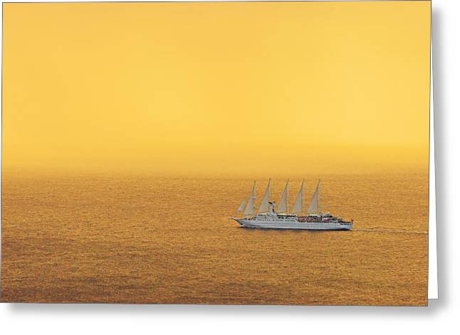 Yellow Sailboats Greeting Cards - Sailboat At Sunset- St Lucia Greeting Card by Chester Williams