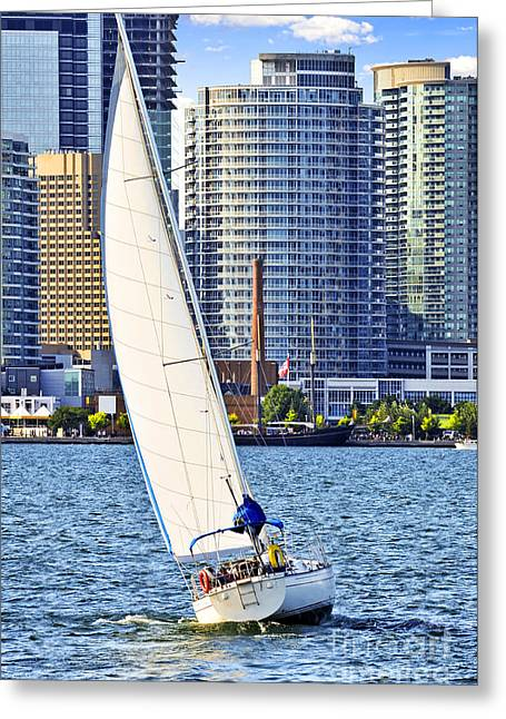 Yachting Greeting Cards - Sailboat in Toronto harbor Greeting Card by Elena Elisseeva