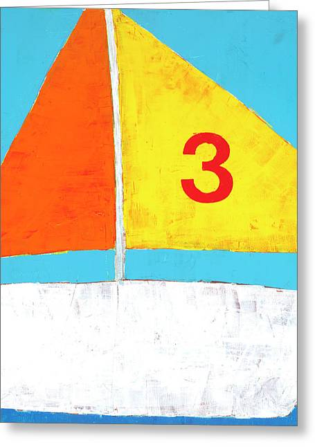 Sailboat Art Greeting Cards - Sailboat Greeting Card by Laurie Breen