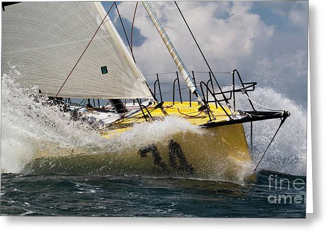 Ocean Sailing Greeting Cards - Sailboat Le Pingouin Open 60 Charging  Greeting Card by Dustin K Ryan