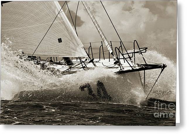 Boat Greeting Cards - Sailboat Le Pingouin Open 60 Sepia Greeting Card by Dustin K Ryan