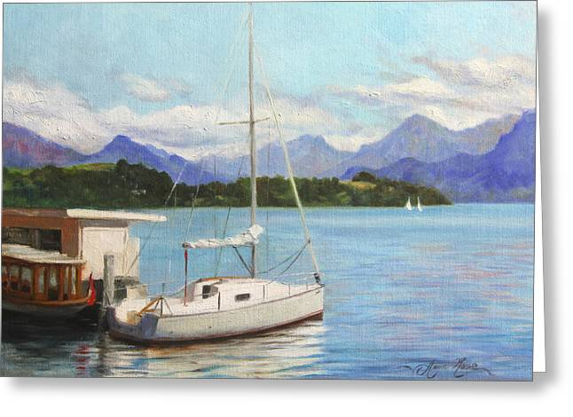 Lake Paintings Greeting Cards - Sailboat on Lake Lucerne Switzerland Greeting Card by Anna Bain