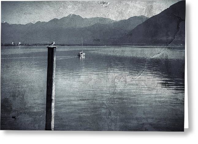 Blue Sailboats Greeting Cards - Sailboat on Lake Maggiore Greeting Card by Joana Kruse