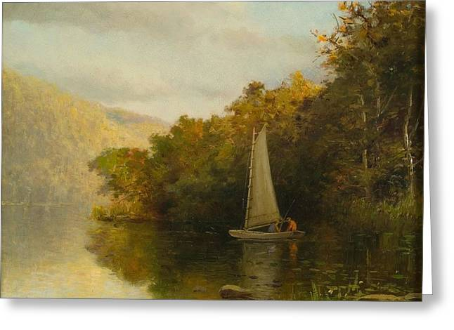 Sailboat On River Greeting Card by Arthur Quarterly