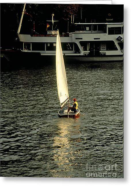Deutschland Greeting Cards - Sailboat on the Neckar Greeting Card by Chris  Brewington Photography LLC