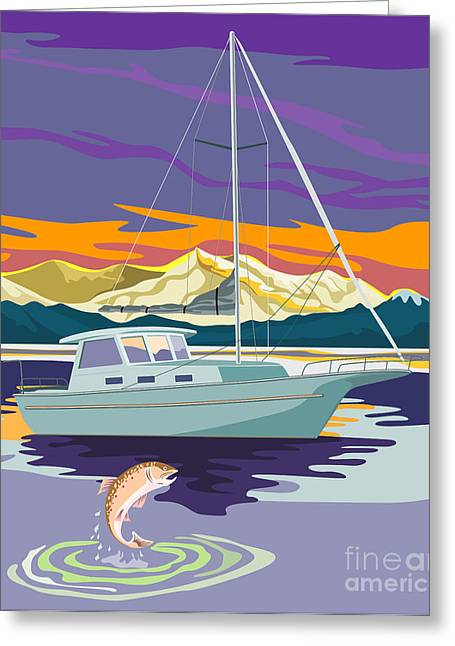 Ocean Sailing Greeting Cards - Sailboat Retro Greeting Card by Aloysius Patrimonio