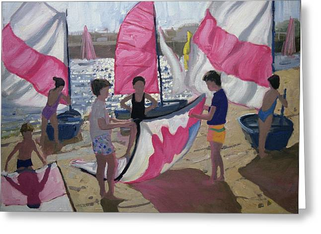 Sea Shore Greeting Cards - Sailboat Royan France Greeting Card by Andrew Macara