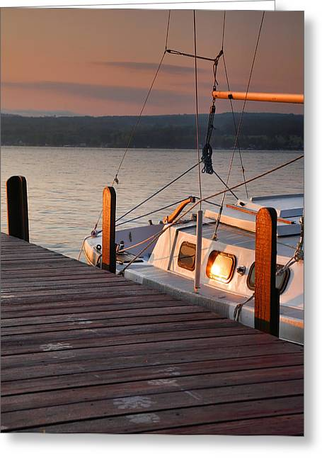 Keuka Greeting Cards - Sailboat Sunrise II Greeting Card by Steven Ainsworth