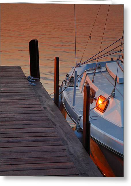 Keuka Greeting Cards - Sailboat Sunrise Greeting Card by Steven Ainsworth