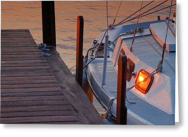 Sailboat Sunrise Greeting Card by Steven Ainsworth