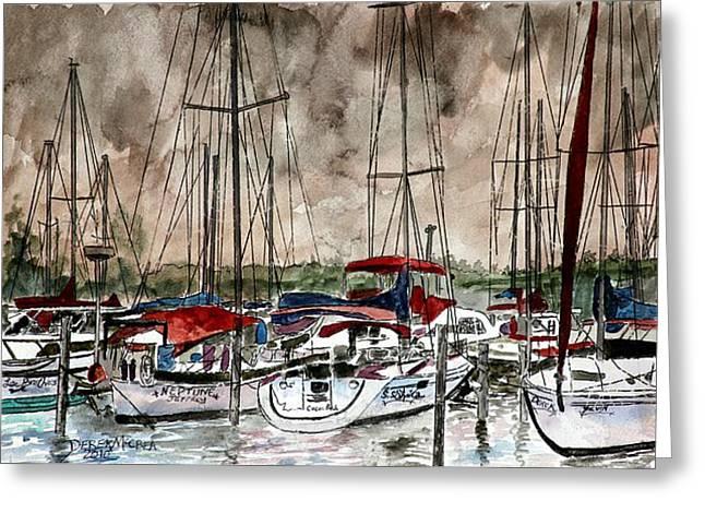 Surf Art Drawings Greeting Cards - Sailboats At Night Greeting Card by Derek Mccrea
