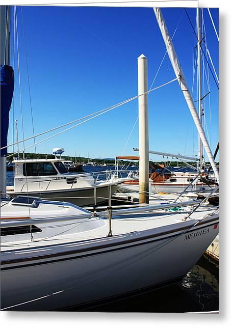 Sailboats Docked Greeting Cards - Sailboats Greeting Card by Becca Brann