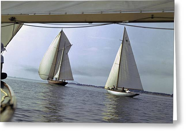 Two Sail Boats Greeting Cards - Sailboats Compete In The 100-mile Cedar Greeting Card by Melville B. Grosvenor