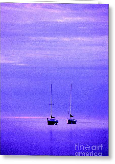 Blue Sailboat Photographs Greeting Cards - Sailboats in Blue Greeting Card by Timothy Johnson