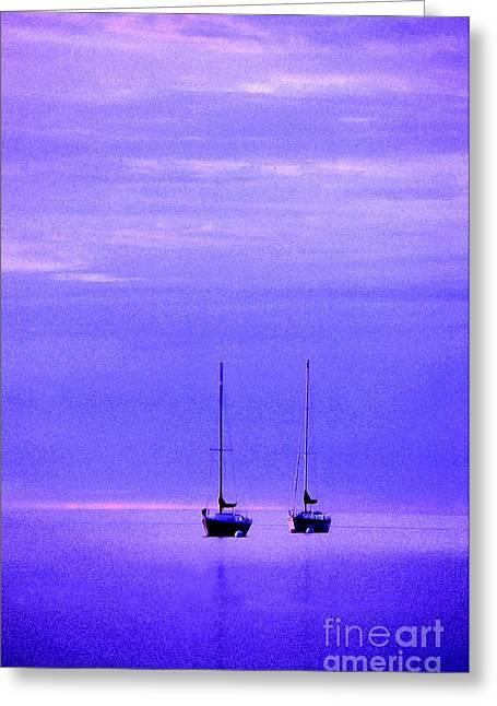 Blue Sailboats Photographs Greeting Cards - Sailboats in Blue Greeting Card by Timothy Johnson