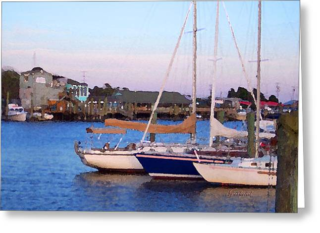 Docked Sailboat Mixed Media Greeting Cards - Sailboats In From The Sea Greeting Card by Garland Johnson