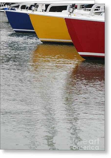Sailboats In Water Greeting Cards - Sailboats in Primary Colors Greeting Card by Julie Bostian