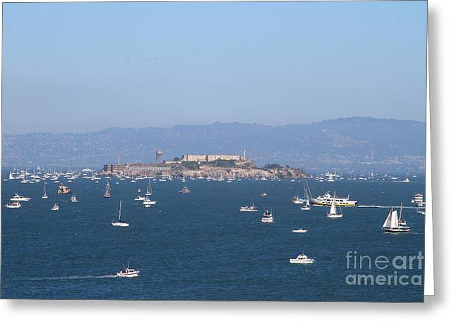 Alcatraz Greeting Cards - Sailboats In The San Francisco Bay Overlooking Alcatraz . 7D7862 Greeting Card by Wingsdomain Art and Photography